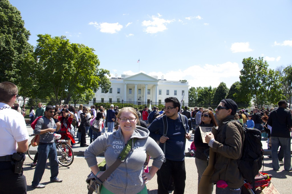 Here I am by the White House during the March Against Monsanto.